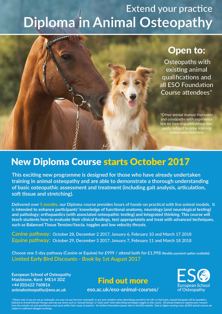 Animal Osteopathy Diploma 17 | ESO - European School of