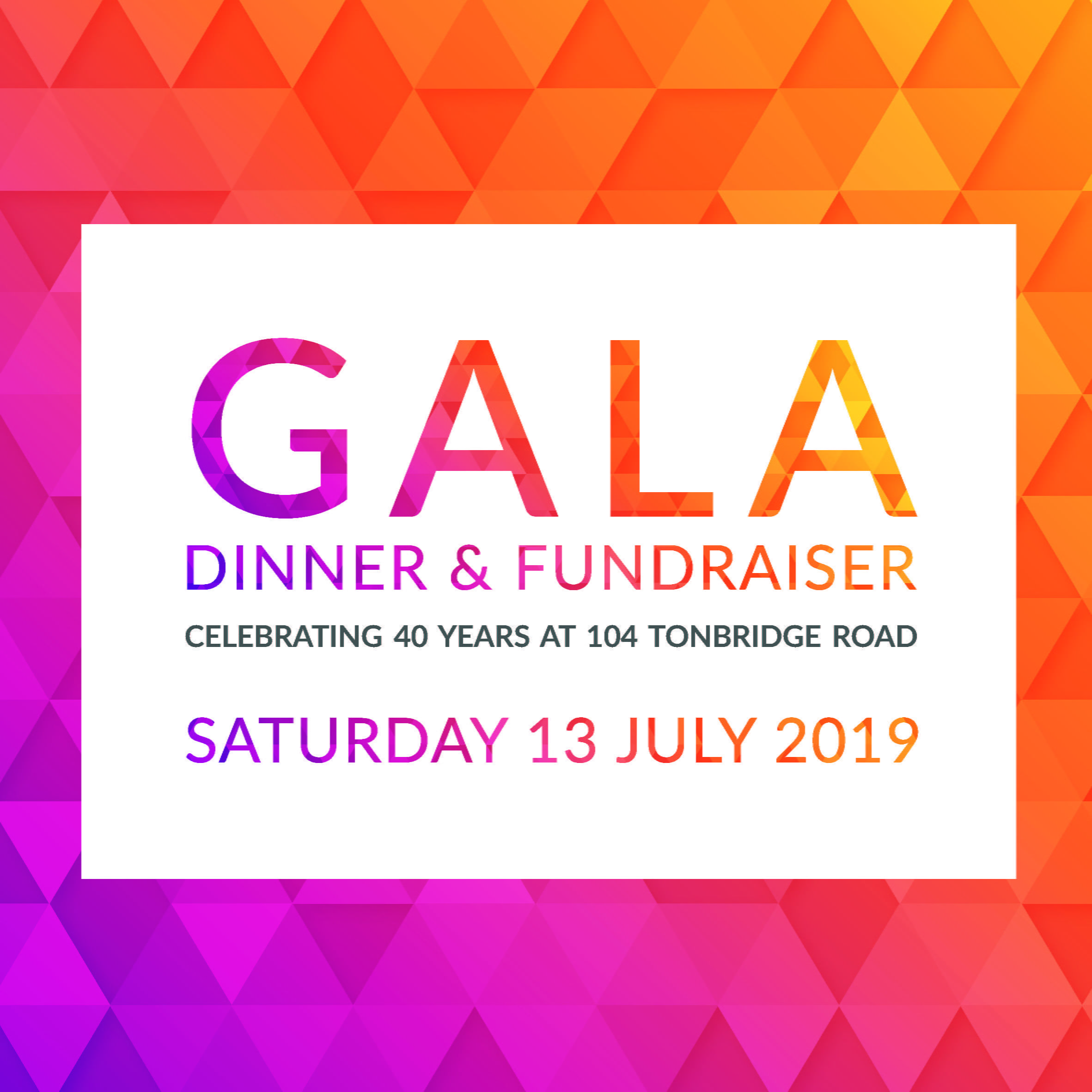 Gala Dinner & Fundraiser – Saturday 13th July