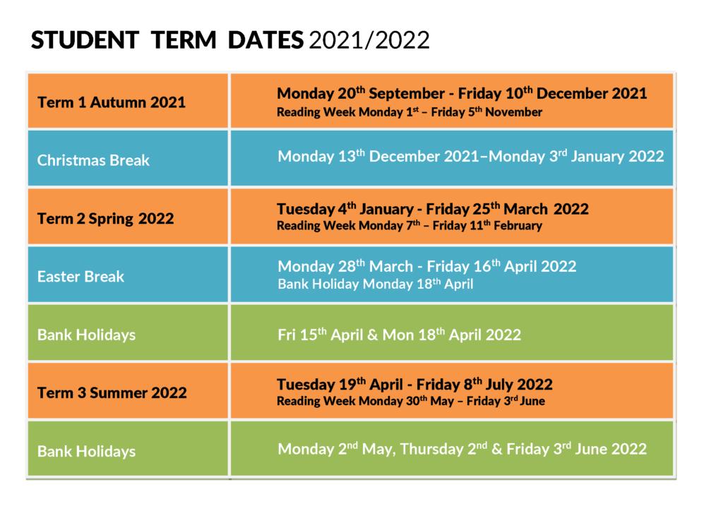 Term Dates 2021 2022